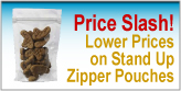 Stand Up Zipper Pouches price slash