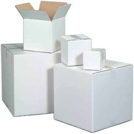 "18 x 12 x 6"" White Corrugated Boxes