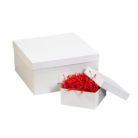 "10 x 10 x 6"" White Deluxe Gift Box Bottoms