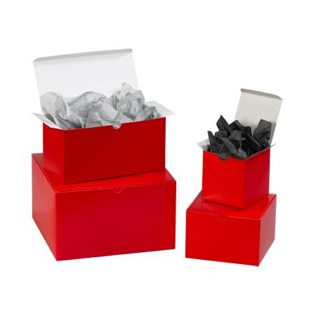 "10 x 10 x 6"" Holiday Red Gift Boxes