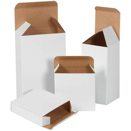 "1 15/16 x 5/8 x 1 15/16"" White Reverse Tuck Folding Cartons"