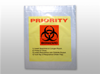 "Yellow Tint Reclosable 3-Wall Specimen Transfer Bag with ""Priority"" Print(Biohazard) 12 X 15 2 mil 1,000/cs