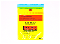 "Specimen Bags Lab Seal®Tamper-Evident with Removable Biohazard Symbol - Yellow Tint Printed ""STAT""