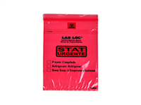 "Lab-Loc® Specimen Bags with Removable Biohazard Symbol Printed ""STAT"" - Red 6 X 9 1.75 mil 1,000/cs