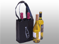 Non-Woven Polypropylene Bag -- Four Bottle Wine Bag  7 X 7 1/2 X 9 1/4 + 7 1/2 BG300/cs